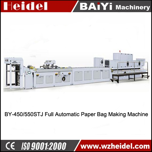 Paper Bag Making Machine with top folded and bottom carton Inserted